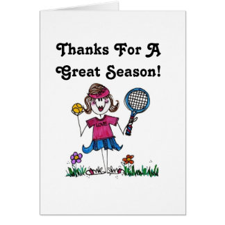 Greeting Card -Stick Tennis Girl