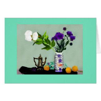 Greeting card Still Life Brass Pot & Peonies