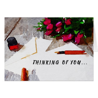 Greeting Card Thinking of You Roses and Stationary