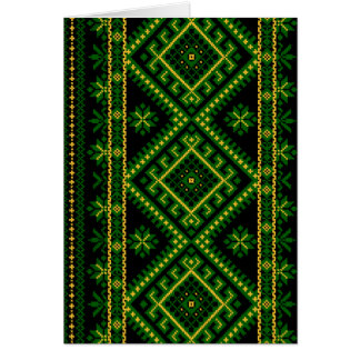 Greeting Card Ukrainian Print Green
