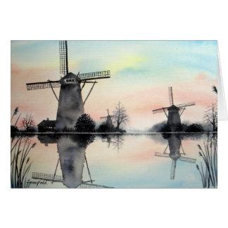 Greeting Card - Windmills at dawn
