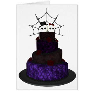 Greeting card with a Gothic wedding cake