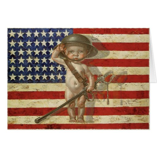 Greeting Card with Baby War Hero on American Flag