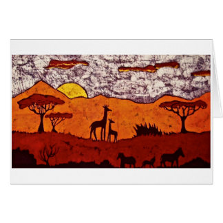 Greeting Card with Batik of African Landscape