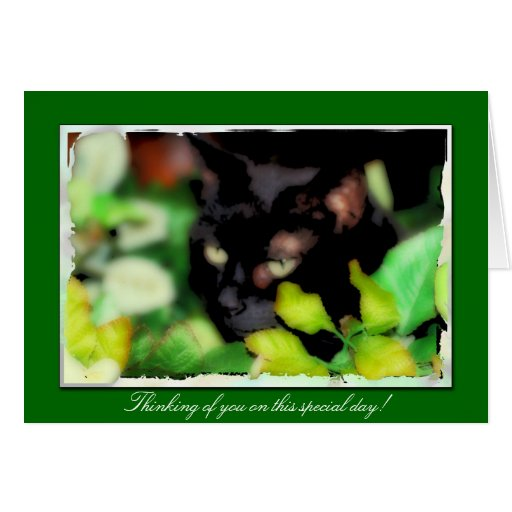 Greeting Card with Black Cat