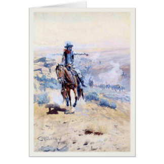 Greeting Card With Cowboy Pointing Out The Trail