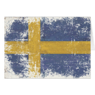 Greeting Card with Dirty Vintage Flag from Sweden