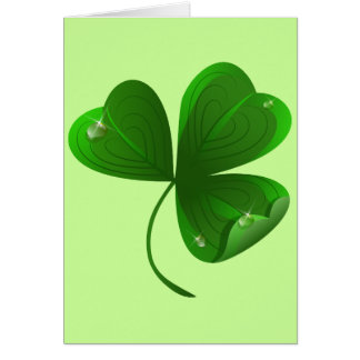 Greeting card with green shamrock leaf
