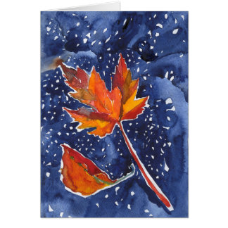 Greeting Card with Magical Leaf Painting