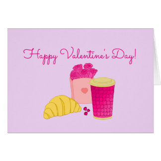 Greeting card with pink breakfast design