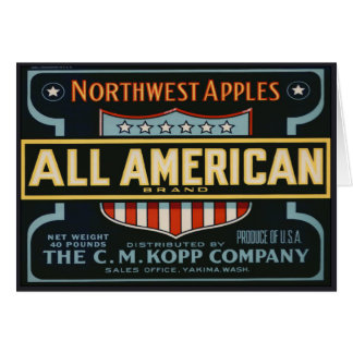 Greeting Card with Vintage Apple Crate Label Print