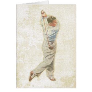 Greeting Card with Vintage Golf Player