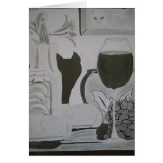 "Greeting Cards ""Black Cat Wine"" by Amber Larsen"