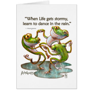 Greeting Cards: Frogs Dancing in Rain with Quote Card