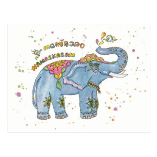 Greeting elephant postcard