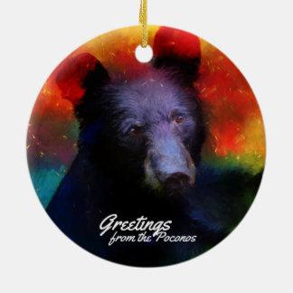 Greeting from the Poconos Colorful Black Bear Ceramic Ornament
