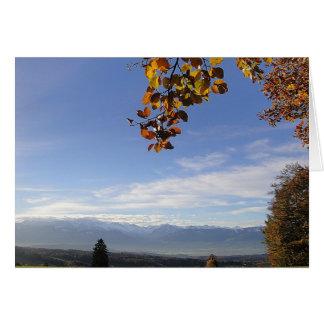 Greeting map mountain panorama, in blank greeting card