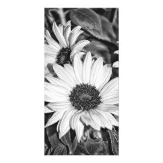 Greeting map - sunflower black-and-white customised photo card