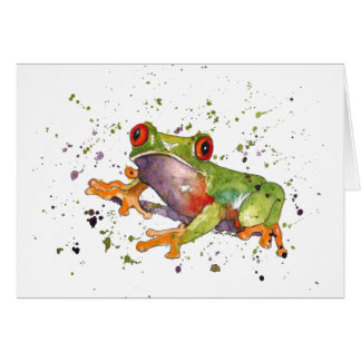Greeting map with handpainted frog card