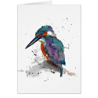 Greeting map with handpainted kingfisher card
