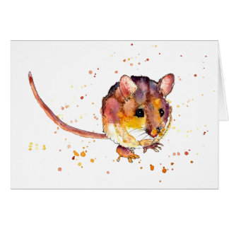 Greeting map with handpainted mouse card
