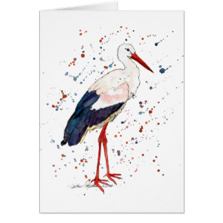 Greeting map with handpainted stork card