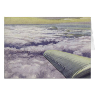 Greetingcard With Aeroplane Wing Over Clouds Card