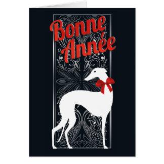 Greetings card Greyhounden celebrates