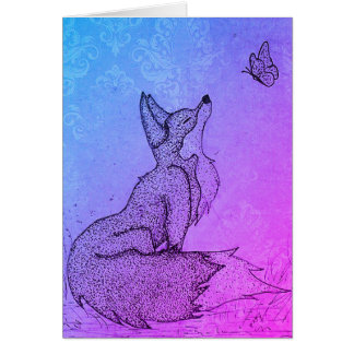 Greetings card - Promotion - Fox and Butterfly