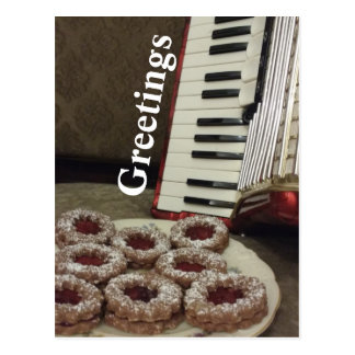 Greetings Card with an Accordion and Cookies