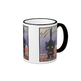 Greetings For Halloween Vintage Cat Mug