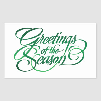 Greetings for the Season - Green Rectangular Sticker