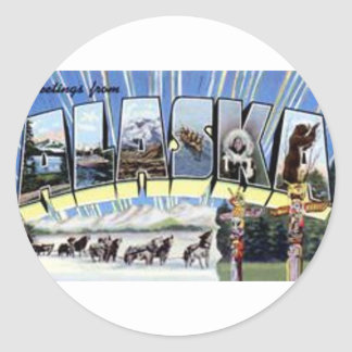 Greetings From Alaska Classic Round Sticker