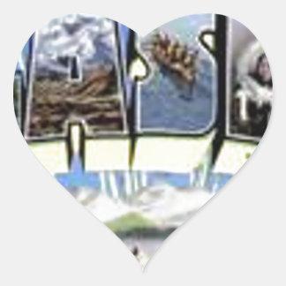 Greetings From Alaska Heart Sticker