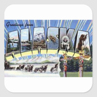 Greetings From Alaska Square Sticker
