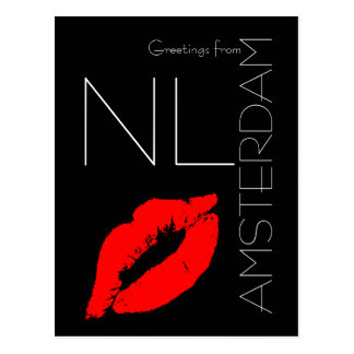 Greetings from Amsterdam Red Lipstick Kiss Black Postcard