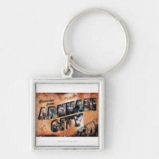Greetings from Arkham City Silver-Colored Square Key Ring
