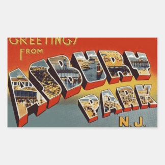 Greetings from Asbury Park NJ Rectangular Sticker