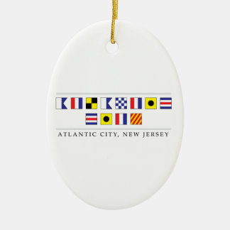 Greetings from Atlantic City Ceramic Oval Decoration