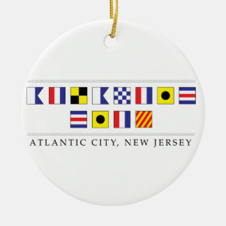 Greetings from Atlantic City Round Ceramic Decoration