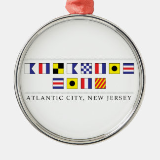 Greetings from Atlantic City Silver-Colored Round Decoration