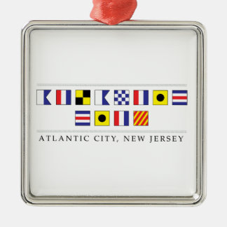 Greetings from Atlantic City Silver-Colored Square Decoration