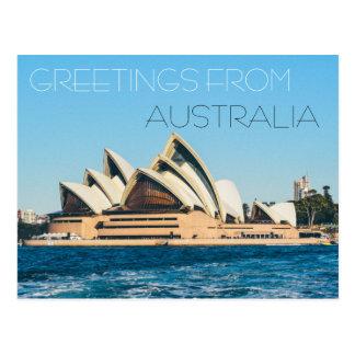 greetings from australia opera house postcard sea