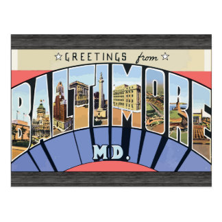 Greetings From Baltimore Md., Vintage Postcard