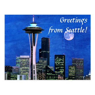 Greetings from Blue Seattle Skyline Postcard