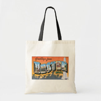 Greetings From Boston Mass., Vintage Budget Tote Bag