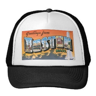 Greetings From Boston Mass., Vintage Hats