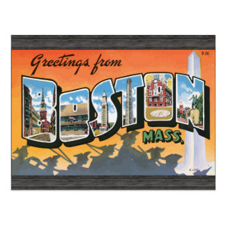 Greetings From Boston Mass., Vintage Postcard