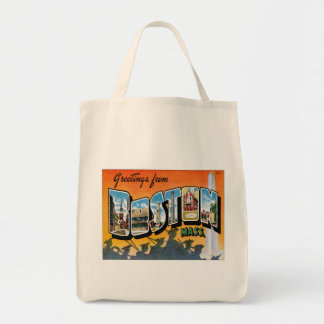 Greetings From Boston Massachusetts Grocery Tote Bag