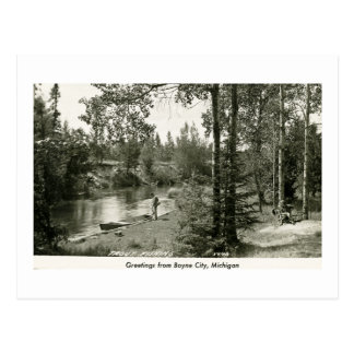 Greetings from Boyne City, MI. Trout Fishing Postcard
